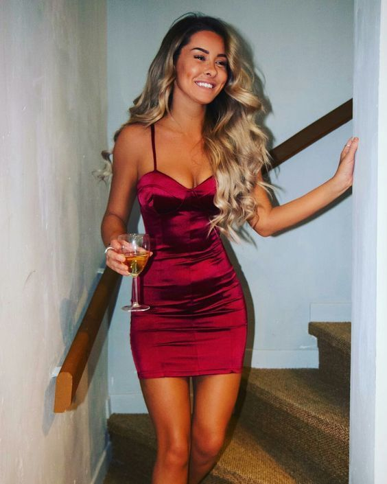 6e629bf5368 Sexy Burgundy Homecoming Dress