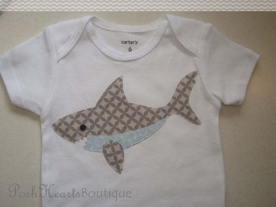 Hey, I found this really awesome Etsy listing at https://www.etsy.com/listing/185125194/shark-applique-baby-onesie-bodysuit