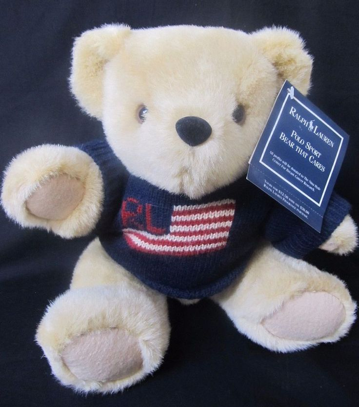 Vintage Ralph Lauren Polo Plush Teddy Bear Flag Sweater 1996 Jointed New Tags  #RalphLauren #AllOccasion