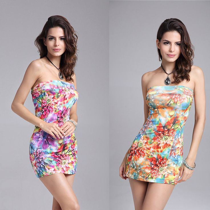 Free Shipping  New Sexy Print dress 3color Flower Printing Women's  Strapless Dress Summer Mini bodycon