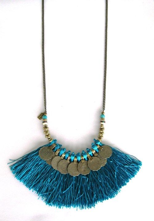Kuchi Tribe Necklace in Turquoise tassel. Faith Designs. Love!