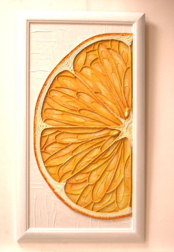 Orange Acrylic Painting - String Art Macro Original Mixed Media Abstract - The Gift of Art