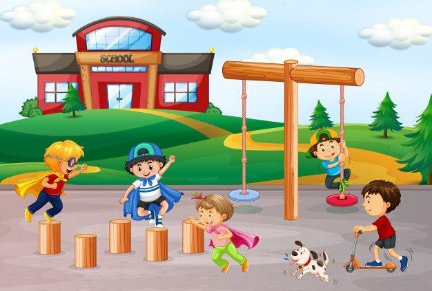 Ilustracion De Dibujos Animados De Juegos Infantiles Con Personajes De Ninos De Preescolar Multinacionales Descargar Ninos Jugando Ninos Ninos De Preescolar