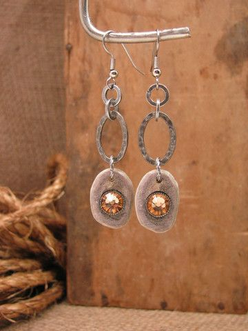 SureShot Jewelry - Genuine Deer Antler Slice w/Citrine Crystals Silver Dangles