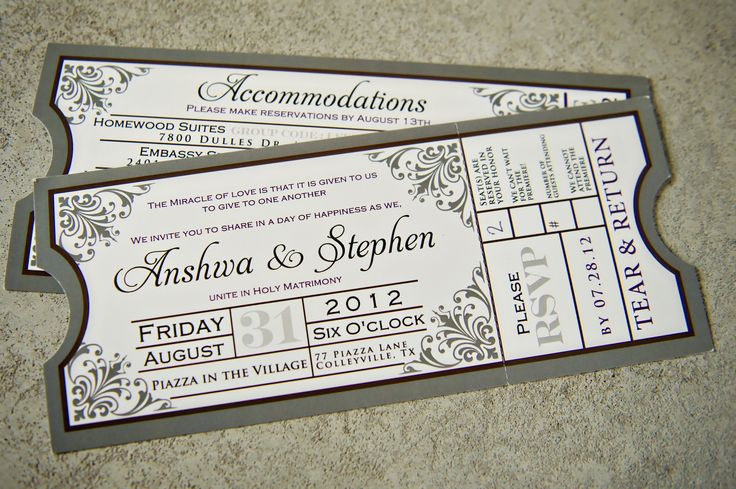 Loved our wedding invitations, shaped like movie tickets, tear and return stubs for RSVPs. And these actually almost didn't happen. My original stationary was supposed to come from someone else, but that didn't work out. So between Sarah and I, we came up with something special, taking inspiration from several google searches, and I think we were much better off ;)