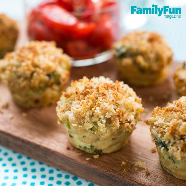 Mini Mac-And-Cheese: The use of broccoli and low-fat ricotta gives this mac-and-cheese recipe a healthy edge over many other versions. Panko (Japanese bread crumbs) provides a crusty top that's a crunchy complement to the cheesy filling.