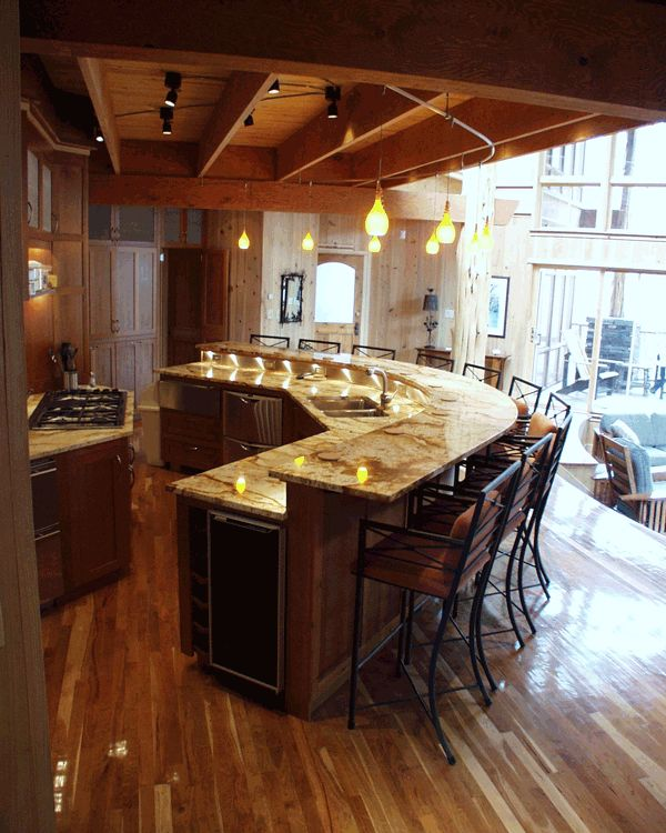 25 best ideas about curved kitchen island on pinterest for Half island kitchen