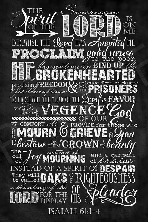Scripture Art  Isaiah 61:1-3 Chalkboard by ToSuchAsTheseDesigns