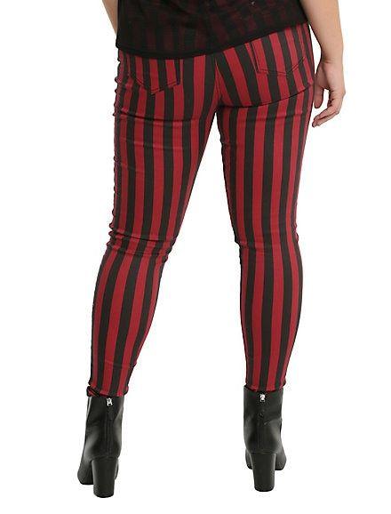 6d1ec754a37 Blackheart Black   Red Striped Zippered Stingerette Jeans Plus Size ...