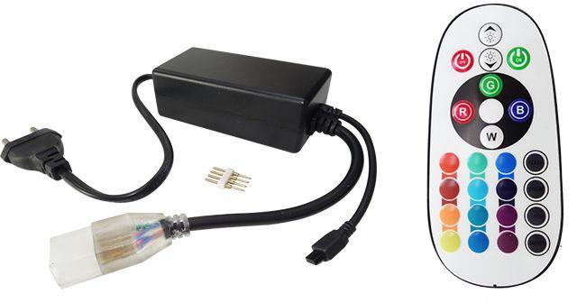 CONTROLLERUL BANDA LED RGB 220V CU TELECOMANDA poate alimenta pana la 40 m de banda si va puteti bucura de tot confortul oferit telecomanda cu o raza de actiune mare. Telecomanda ofera posibilitatea setarii unei culori sau a unui joc de lumini.