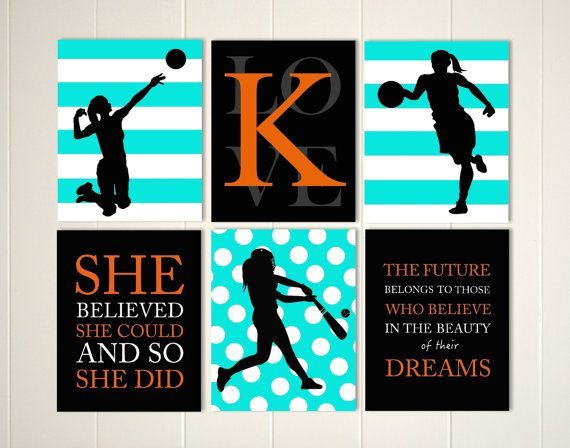 Volleyball art, softball art, basketball art, girls wall art, girls wall art, monogramed gift, set of 6, choose your colors and sports by PicabooArtStudio