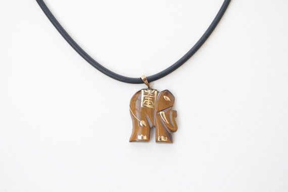 Elephant necklace Tigers eye stone necklace by SoulSisters16