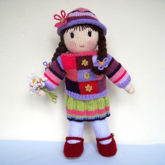 Knitting Pattern  POSY  knitted toy doll  email PDF by dollytime, $4.99