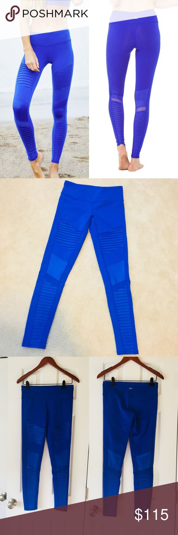 ALO Yoga Moto Leggings ALO Yoga Moto Leggings  Color: Deep Electric Blue Size: M (I wear a 4/6 in lululemon & these fit well) Mid rise VVGUC. No rips, stains, holes, or piling! Prepping for an upcoming military move and needing to downsize.   RARE ALO Yoga Pants Leggings