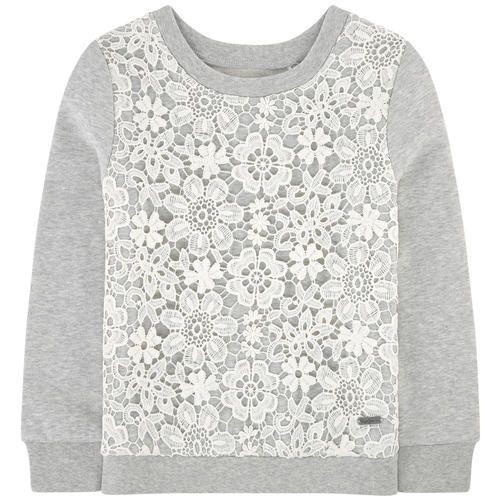 Sweatshirt with a crochet knit patch