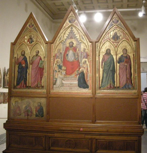 c.1270-23.06.1343.Jacopo Caetani degli Stefaneschi. The Stefaneschi Altarpiece is a triptych by the Italian medieval painter Giotto,commissioned by Cardinal Giacomo Gaetani Stefaneschi to serve as an altarpiece for one of the altars of Old St.Peter's Basilica in Rome.He was created cardinal-deacon of the titular Church of San Giorgio in Velabro on 17.12. 1295,by Pope Boniface VIII,who also sent him as legate to Cesena,Forlì, Faenza and Bologna in 1296, to suppress civil disturbances.