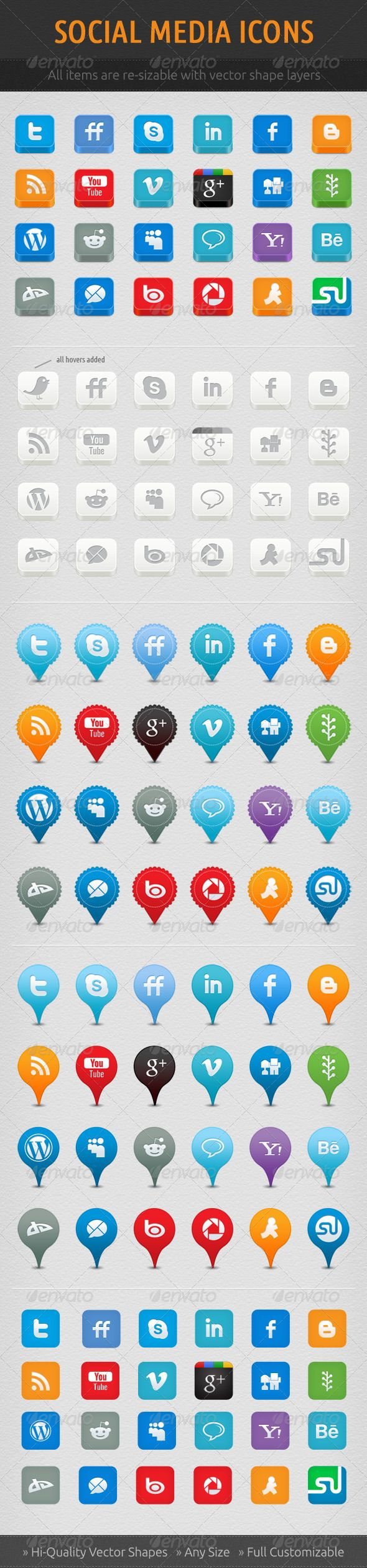 Social Network Icon Set — Photoshop PSD #wordpress #digg • Available here → https://graphicriver.net/item/social-network-icon-set/721419?ref=pxcr