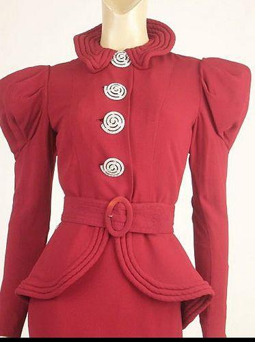 1930's Red Peplum Suit
