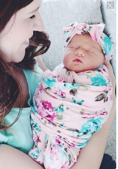 new baby swaddle blanket and headband set floral baby blanket newborn photography props muslin baby swaddle wrap