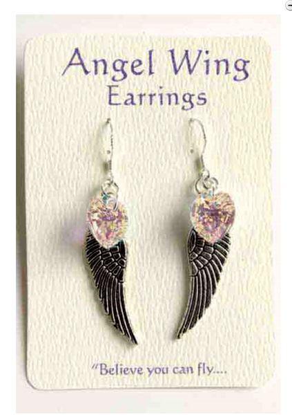 Angel Wing oorbellen Swarovski hart helder - De Vrolijke Engel