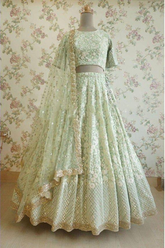 Thread Work And Sequin Lehenga Choli In Custom Colors Etsy In 2020 Indian Outfits Lehenga Indian Bridal Outfits Designer Bridal Lehenga