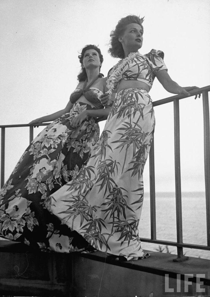 1940's summer fashion hawaii tiki tikki dress top skirt long gown crop found photo models print ad 40s island
