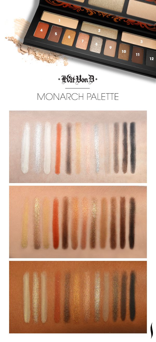 41 best make up wants images on pinterest make up looks beauty we swatched the kat von d monarch palette to see how the colors looked on different skintones geenschuldenfo Image collections