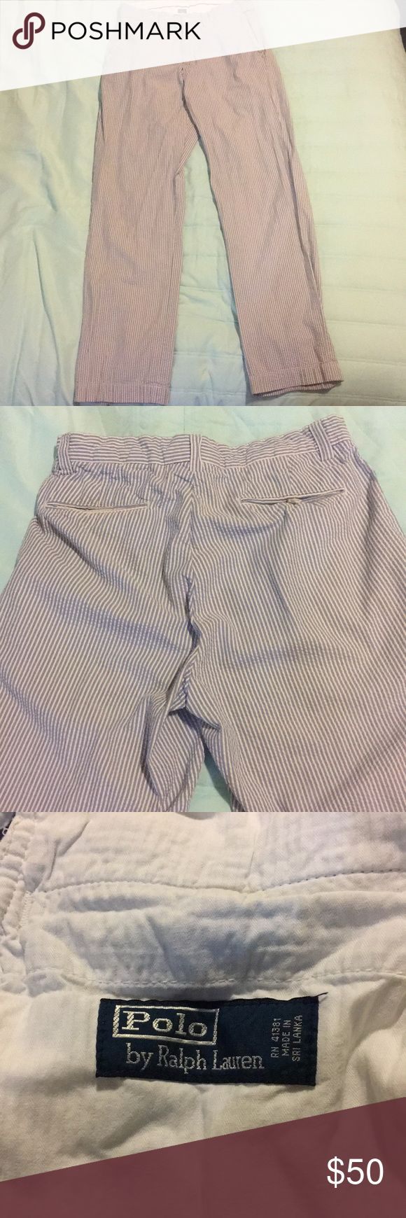Ralph Lauren Seersucker Pants Great condition!!!  Blue and white striped seersucker Pants Brand Ralph Lauren Size 32x32 Two front pockets with small pocket Two back pockets Polo by Ralph Lauren Pants