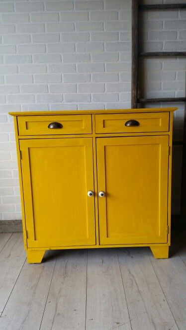 Vintage Canary Yellow Cabinet