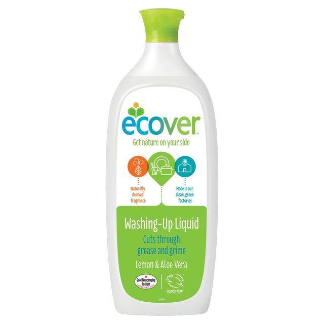 ECOVER kézi mosogatószer, citrom és aloe vera komponensekkel - 1l-es kiszerelés. Természetes, bőrbarát összetevők. Újrahasznosítható és megújult dizájnos csomagolás.