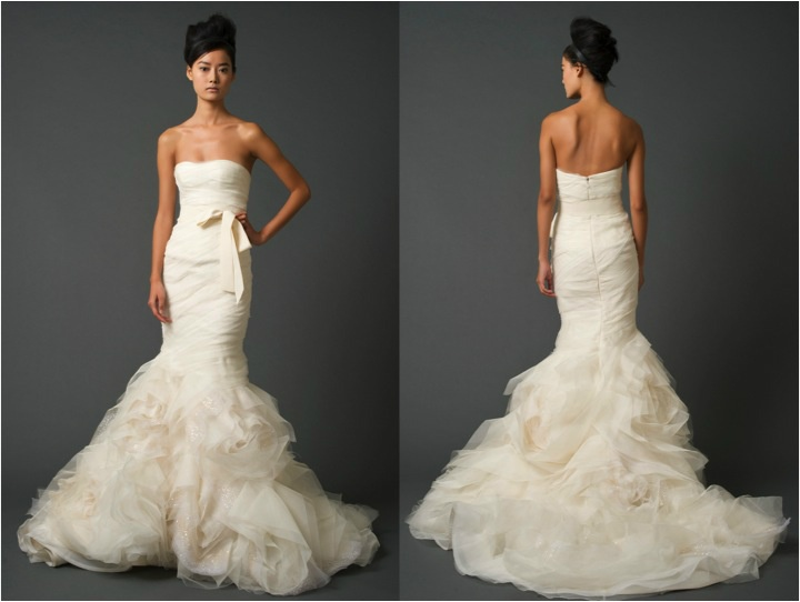 Amazing Strapless sweetheart mermaid gown by Vera Wang Pleated Wedding DressesUsed