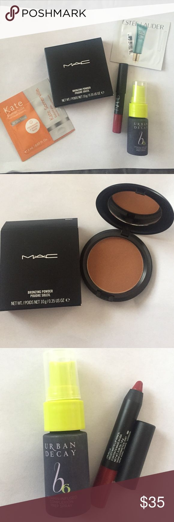 """NWT BUNDLE: Mac bronzer, Nars lip pencil & more NWT!! All items are brand new, never used!! Full size MAC bronzer in the shade """"bronze"""", mini size of the Nars lip pencil in """"cruella"""", mini size of the urban decay vitamin B prep spray and two skincare samples from Estée Lauder and Kate Somerville MAC Cosmetics Makeup Bronzer"""