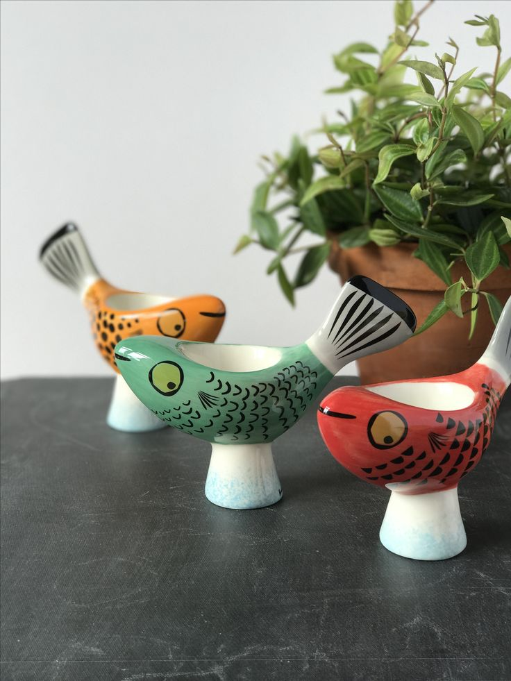 Fish Egg Cups Handmade ceramic fish egg cups by Hannah Turner