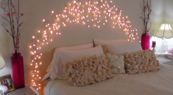 DIY Icicle Light Faux Headboard This is an brilliant, inexpensive DIY Faux headboard made with icicle lights. What teenager wouldn't love to sleep under these soft twinkling lights at night? I know mine would love them! With the use of Command damage-free clips, icicle lights can be easily applied to just about anywhere; …