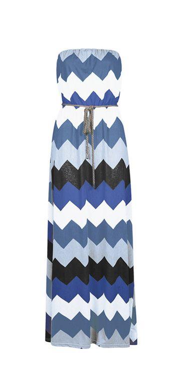 Blue  White Zigzag Strapless Maxi Dress