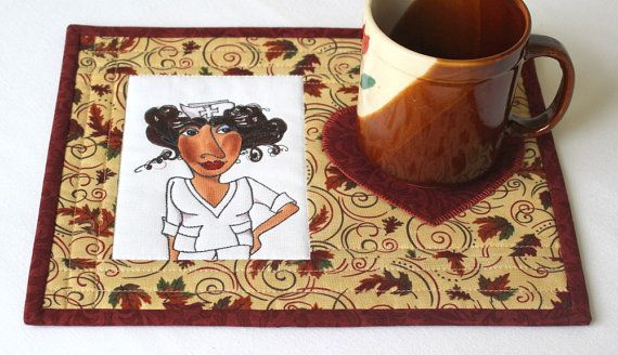 Nurse Mug Rug Quilted Mug Rug Snack Mat Fall by RedNeedleQuilts