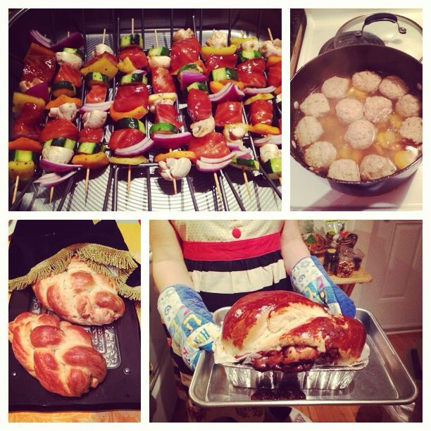 Cooking classics from scratch - fish kebabs, matzoball soup, challah bread and chocolate babka!