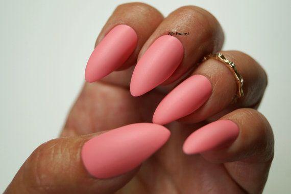 Pink Matte Stiletto nails Nail designs Nail by FifeFantasiNails