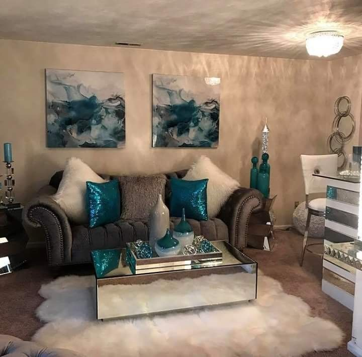 I Need This Living Room Teal Living Rooms Living Room Turquoise Silver Living Room #teal #living #room #decorating #ideas