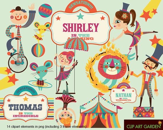 INSTANT DOWNLOAD CIRCUS digital clipart elements for Personal and Commercial use. (paper crafts, card making, scrapbooking)
