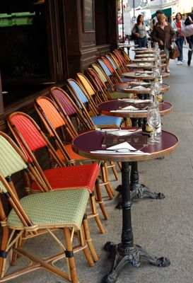 Paris....love the colourful chairs and cozy round tables invites conversation