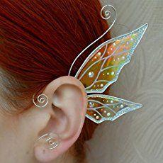 Amazon.com: Elf Ear Cuff Fairy Earrings Elven Ears Flower Earrings Pearl Ear Cuff Silver Plated Wire Gift Non Pierced Pair Elvish Wedding: Handmade