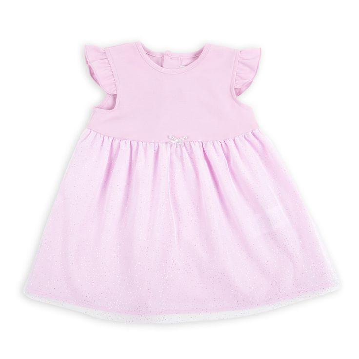 Vestido EPK para bebé niña de color rosado con falda de tul.