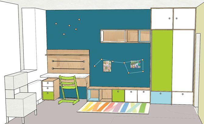 Návrh dětského pokoje- pracovní stůl © Katka Horáková, www.DesignVille.cz