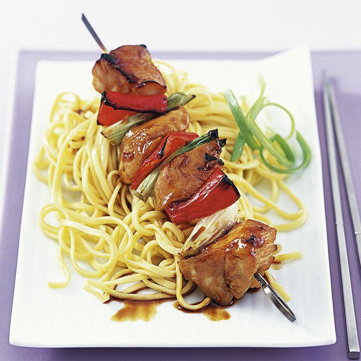 These low fat Yakitori Kebabs with Chicken and vegetables makes a perfect addition to any barbecue: http://www.waitrose.com/content/waitrose/en/home/recipes/recipe_directory/y/yakitori_kebabs_with_chicken_and_vegetables.html