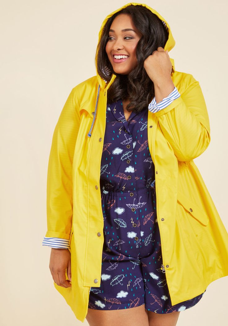 <p>For a rainy morning commute, wet lunchtime stroll, or misty midnight jaunt, this bright yellow raincoat will protect your outfit with style! A marvelous ModCloth exclusive that fastens with snaps, cinches with a drawstring waist, and boasts a hood containing the navy-and-white striped lining found throughout its anorak-like silhouette, this pocketed layer inspires all-weather adventures.</p>