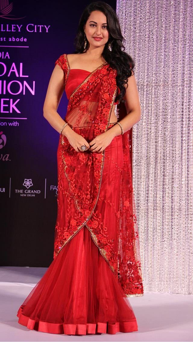 sonakshi sinha in red mermaid style saree drape