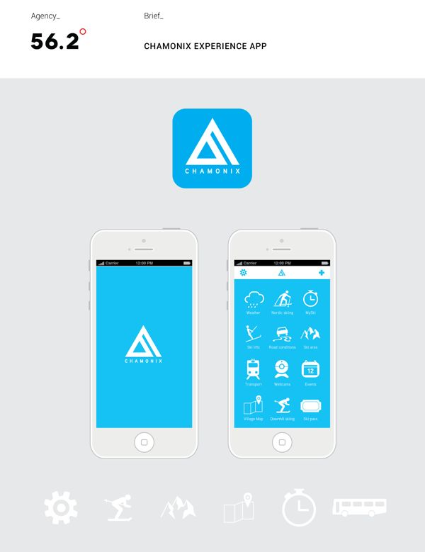 Chamonix Experience iPhone app. by 56.2˚, via Behance