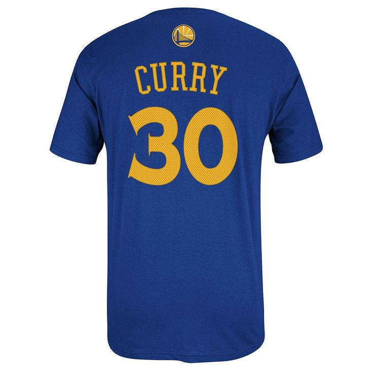 Adidas Golden State Warriors Stephen Curry Player Name and Number Tee - Men, Size: XXL, Med Blue