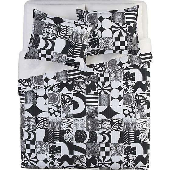 Marimekko Yhdessä Black Bed Linens in Bed and Bath | Crate and Barrel